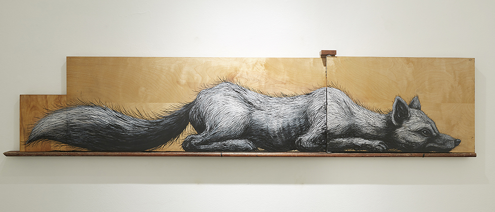 Roa      -  <strong>NY Canidae</strong> (2015<strong style = 'color:#635a27'></strong>)<bR /> mixed media,   20 x 88 x 3.75 inches  (50.8 x 223.52 x 9.53 cm)