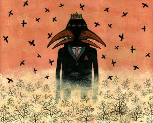 Andy  Kehoe -  <strong>King Crow Grows Rampant</strong> (2007<strong style = 'color:#635a27'></strong>)<bR /> Acrylic and griffin on cradleboard,   16 x 20 inches