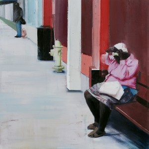 Brett  Amory -  <strong>Waiting #219</strong> (2014<strong style = 'color:#635a27'></strong>)<bR /> oil on canvas,   36 x 36 inches  (121.92 x 121.92 cm)