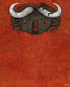Andy  Kehoe -  <strong>Noble Voices Lie Hidden and Mute</strong> (2007<strong style = 'color:#635a27'></strong>)<bR /> Acrylic and griffin on cradleboard,   20 x 16 inches