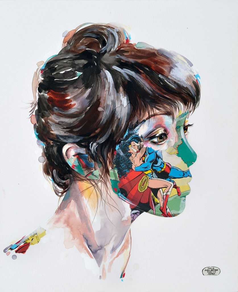 Sandra  Chevrier -  <strong>La Cage plus beau qu'un rêve</strong> (2014<strong style = 'color:#635a27'></strong>)<bR /> mixed media on paper mounted on wood panel,   14 x 17 inches  (35.56 x 43.18 cm)