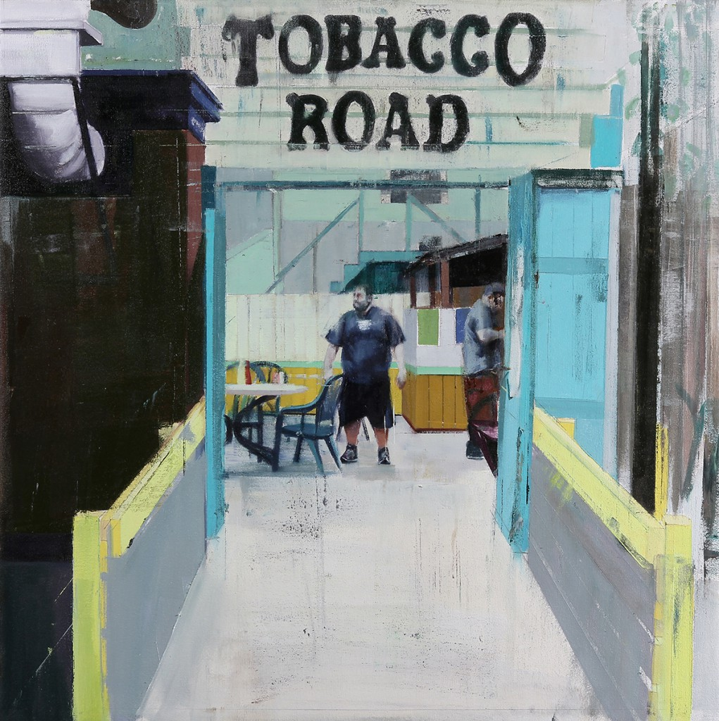 Brett  Amory -  <strong>Tobacco-Road (Waiting #221)</strong> (2014<strong style = 'color:#635a27'></strong>)<bR /> oil on canvas,   36 x 36 inches  (91.44 x 91.44 cm)