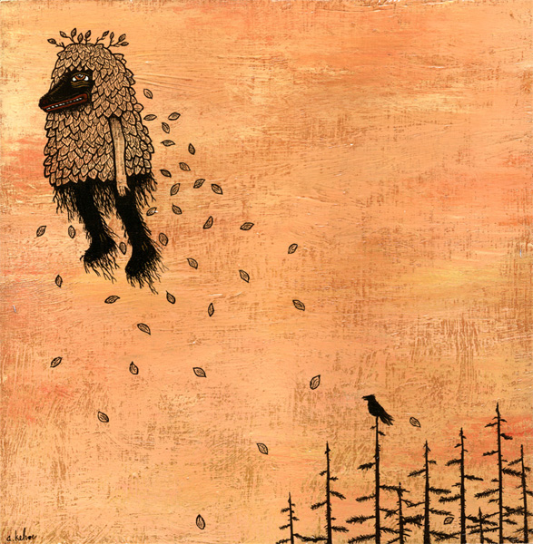 Andy  Kehoe -  <strong>Good Thoughts Drift Elsewhere</strong> (2007<strong style = 'color:#635a27'></strong>)<bR /> Acrylic and griffin on cradleboard,   10 x 10 inches