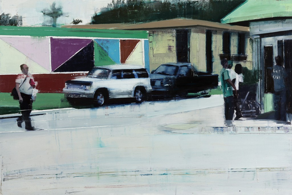Brett  Amory -  <strong>Little-Haiti - (Waiting #224)</strong> (2014<strong style = 'color:#635a27'></strong>)<bR /> oil on wood,   24 x 36 inches  (60.96 x 91.44 cm)