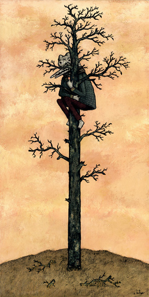 Andy  Kehoe -  <strong>Holding On to the Old and Dying</strong> (2007<strong style = 'color:#635a27'></strong>)<bR /> Acrylic and griffin on cradleboard,   24 x 12 inches