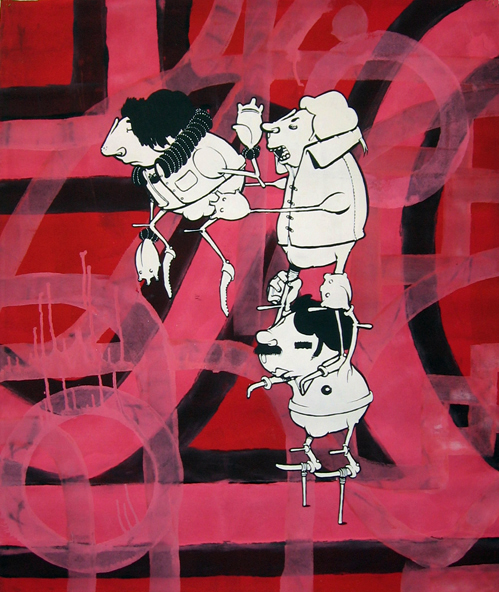 Alex  Hornest -  <strong>8</strong> (<strong style = 'color:#635a27'></strong>)<bR /> Acrylic and Spray Paint on Canvas,   37 x 31 inches