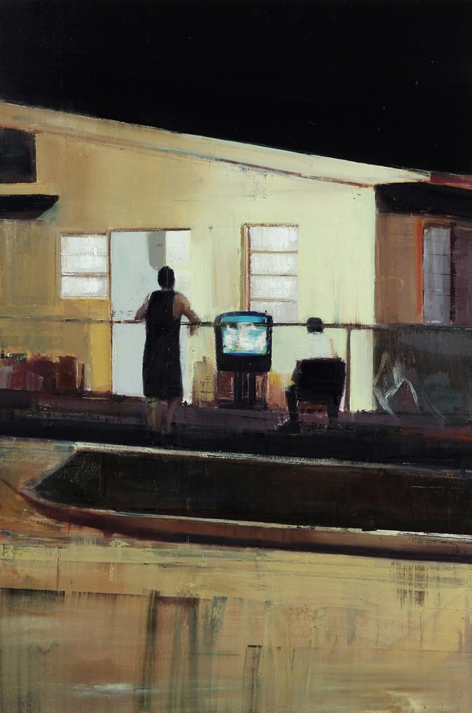 Brett  Amory -  <strong>Waiting #225</strong> (2014<strong style = 'color:#635a27'></strong>)<bR /> oil on wood,   24 x 36 inches  (60.96 x 91.44 cm)