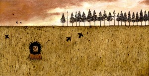 Andy  Kehoe -  <strong>Truth Wanders Alone</strong> (2007<strong style = 'color:#635a27'></strong>)<bR /> Acrylic and griffin on cradleboard,   18 x 36 inches
