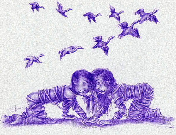"Xiaoqing  Ding -  <strong>A Perfect Knot</strong> (2007<strong style = 'color:#635a27'></strong>)<bR /> Ballpoint Pen on Paper,  <p class=""MsoNormal""><span style=""font-family: Helvetica;"">Image size: 9 x 11 inches</span>,  <p class=""MsoNormal""><span style=""font-family: Helvetica;"">Framed size: 13 1/2 x 16 inches,   </span>"