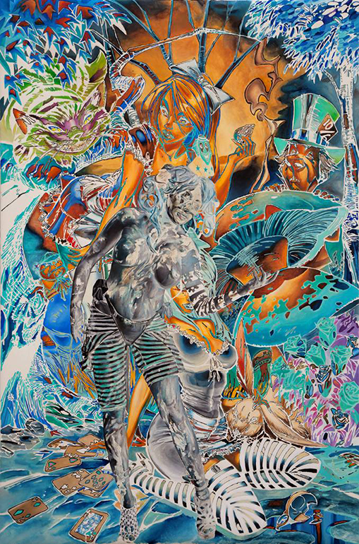 Artists Anonymous  &nbsp -  <strong>Old Game New</strong> (2014<strong style = 'color:#635a27'></strong>)<bR /> oil on paper,   59 x 39.38 inches  (150 x 100 cm)