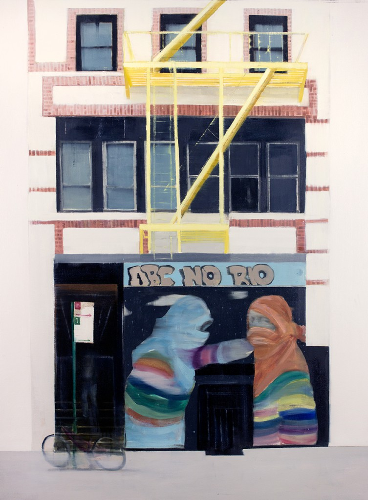Brett Amory -  <strong>ABC No Rio (Waiting #250)</strong> (2015<strong style = 'color:#635a27'></strong>)<bR /> oil on canvas,   48 x 60 inches  (121.92 x 452.4 cm)