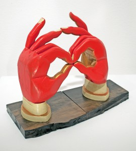 AJ  Fosik -  <strong>38s Hands</strong> (2011<strong style = 'color:#635a27'></strong>)<bR /> wood, paint and nails,   10.5 x 10 x 4 inches  (26.67 x 25.4 x 10.16 cm)