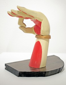 AJ  Fosik -  <strong>B hand</strong> (2011<strong style = 'color:#635a27'></strong>)<bR /> wood, paint and nails,   9.5 x 8 x 4 inches  (24.13 x 20.32 x 10.16 cm)