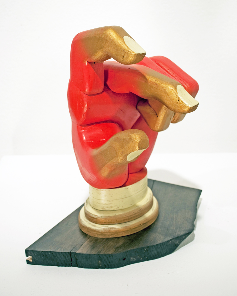 AJ  Fosik -  <strong>East</strong> (2011<strong style = 'color:#635a27'></strong>)<bR /> wood, paint and nails,   13 x 7 x 9 inches  (33 x 17.78 x 22.86 cm)
