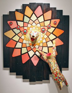 AJ  Fosik -  <strong>Explosion Leading to Refinement</br></strong> (2011<strong style = 'color:#635a27'></strong>)<bR /> wood, paint and nails,   72 x 57.5 x 16.5 inches  (182.88 x 146 x 41.91 cm)