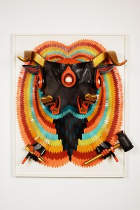 AJ  Fosik -  <strong>In Naked Deathless Splendor</strong> (2013<strong style = 'color:#635a27'></strong>)<bR /> wood, paint and nails,   54 x 43 x 20 inches  (137.16 x 107.22 x 50.8 cm)