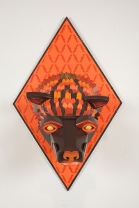 AJ  Fosik -  <strong>Infinite Worth Against the Timeless Scheme No. 15</strong> (2013<strong style = 'color:#635a27'></strong>)<bR /> wood, paint and nails,   28 x 17.5 x 18 inches  (71.12 x 44.45 x 45.72 cm)