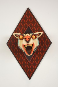 AJ  Fosik -  <strong>Infinite Worth Against the Timeless Scheme No. 16</strong> (2013<strong style = 'color:#635a27'></strong>)<bR /> wood, paint and nails,   28 x 17.5 x 18 inches  (71.12 x 44.45 x 45.72 cm)