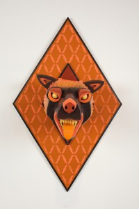 AJ  Fosik -  <strong>Infinite Worth Against the Timeless Scheme No. 5</strong> (2013<strong style = 'color:#635a27'></strong>)<bR /> wood, paint and nails,   28 x 17.5 x 18 inches  (71.12 x 44.45 x 45.72 cm)