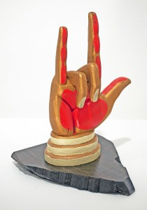 AJ  Fosik -  <strong>Kings Hand</strong> (2011<strong style = 'color:#635a27'></strong>)<bR /> wood, paint and nails,   11.5 x 7 x 3 inches  (29.21 x 17.78 x 7.62 cm)