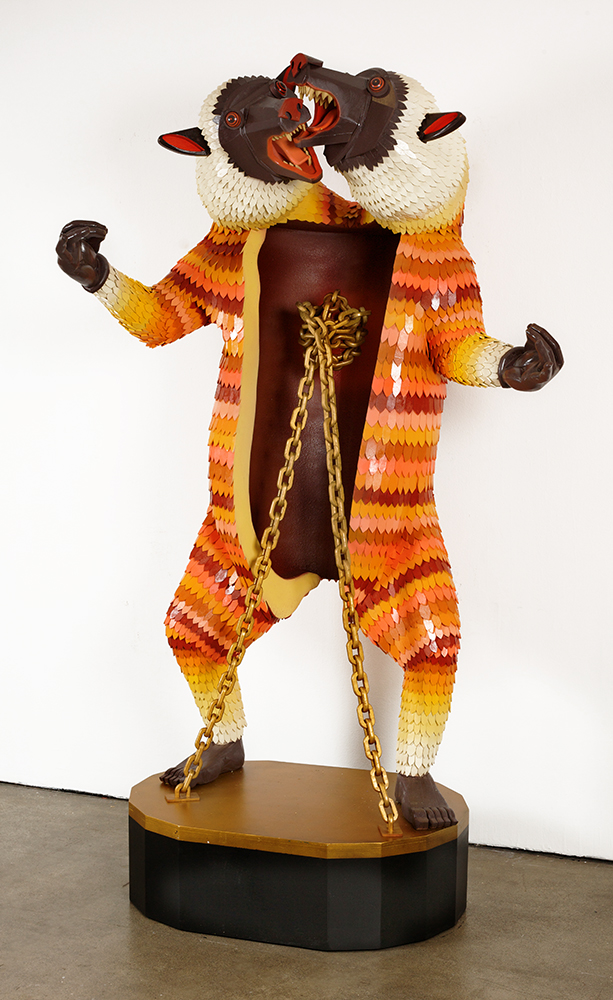 AJ  Fosik -  <strong>Precious Blood, Transcendent Will</strong> (2013<strong style = 'color:#635a27'></strong>)<bR /> wood, paint and nails,   78 x 48 x 36 inches  (198.12 x 121.92 x 91.44 cm)