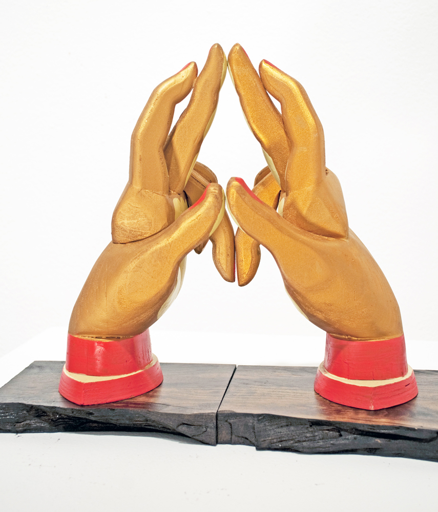 AJ  Fosik -  <strong>Six Point Hands</strong> (2011<strong style = 'color:#635a27'></strong>)<bR /> wood, paint and nails,   11 x 10.5 x 4.5 inches  (27.94 x 26.67 x 11.43 cm)