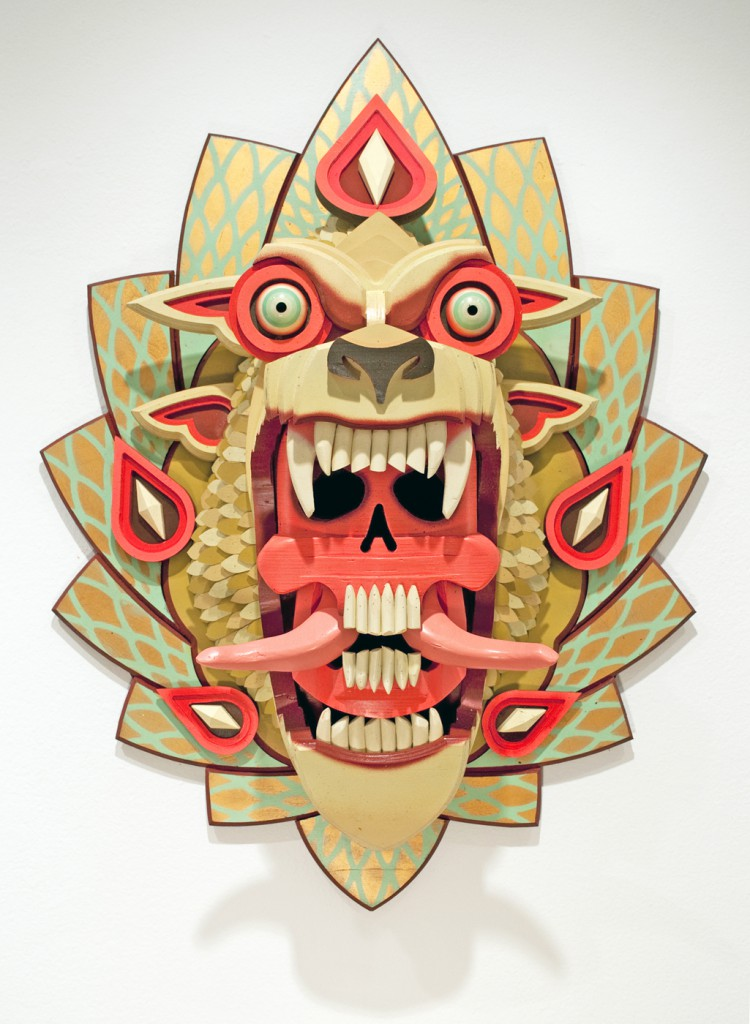 AJ  Fosik -  <strong>The Abyss Stares Back</strong> (2011<strong style = 'color:#635a27'></strong>)<bR /> wood, paint and nails,   39.5 x 27 x 14.5 inches  (100.33 x 68.58 x 36.83 cm)