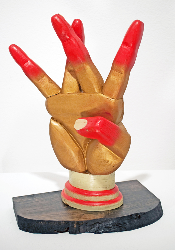 AJ  Fosik -  <strong>West</strong> (2011<strong style = 'color:#635a27'></strong>)<bR /> wood, paint and nails,   16.5 x 11.5 x 5 inches  (41.91 x 29.21 x 12.7 cm)