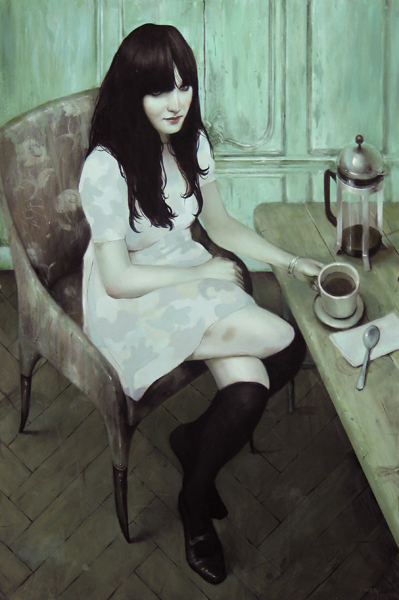 "Jonathan  Viner -  <strong>A Pale Girl in Pale Camo</strong> (2007<strong style = 'color:#635a27'></strong>)<bR /> Oil on Panel,   Image Size: 36 x 24 inches,  <p class=""MsoNormal""><span style=""font-family: Helvetica"">Framed size: 40 1/2 x 29 1/2 inches</span>"