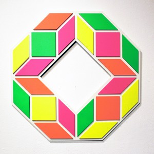 Aakash  Nihalani -  <strong>8 A</strong> (2012<strong style = 'color:#635a27'></strong>)<bR /> acrylic on wood,   25.5 x 25.5 x .75 inches  (64.77 x 64.77 x 1.9 cm)