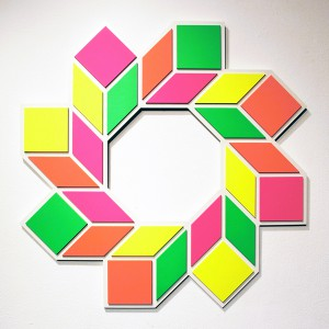 Aakash  Nihalani -  <strong>8 D</strong> (2012<strong style = 'color:#635a27'></strong>)<bR /> acrylic on wood,   31 x 31 x .75 inches  (78.74 x 78.74 x 1.9 cm)