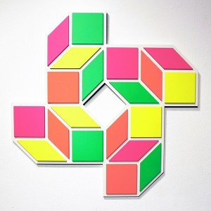 Aakash  Nihalani -  <strong>8 J</strong> (2012<strong style = 'color:#635a27'></strong>)<bR /> acrylic on wood,   28.5 x 28.5 x .75 inches  (72.39 x 72.39 x 1.9 cm)