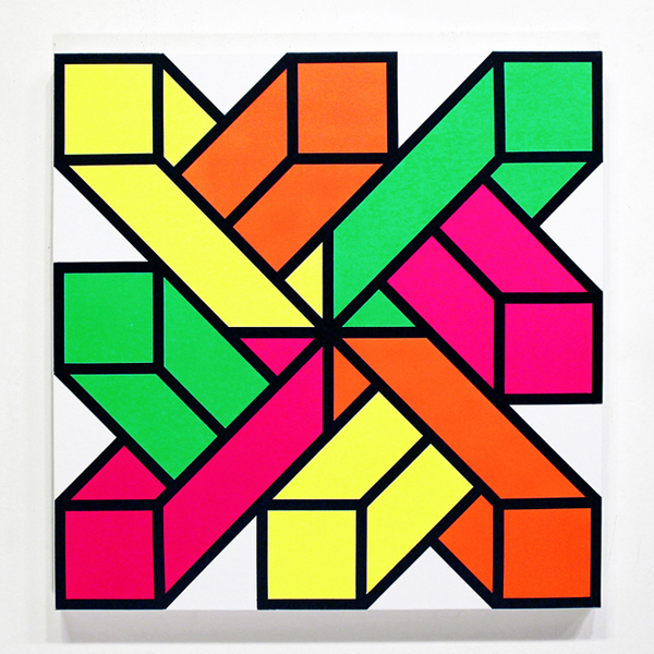Aakash  Nihalani -  <strong>In-n-Out 1</strong> (2012<strong style = 'color:#635a27'></strong>)<bR /> acrylic on canvas,   24 x 24 inches  (60.96 x 60.96 cm)