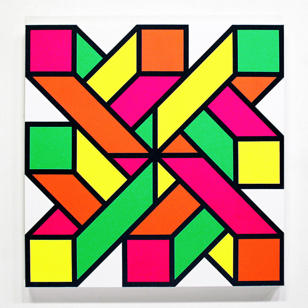 Aakash  Nihalani -  <strong>In-n-Out 2</strong> (2012<strong style = 'color:#635a27'></strong>)<bR /> acrylic on canvas,   24 x 24 inches  (60.96 x 60.96 cm)