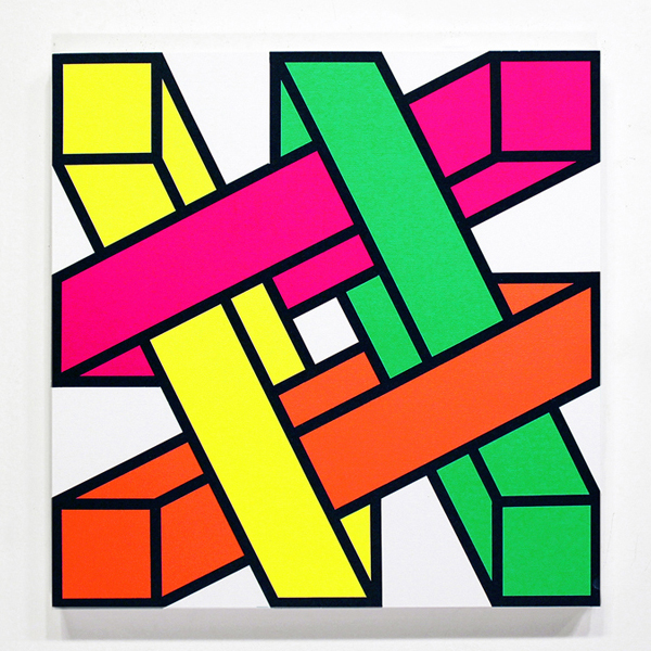 Aakash  Nihalani -  <strong>Out-n-In 1</strong> (2012<strong style = 'color:#635a27'></strong>)<bR /> acrylic on canvas,   24 x 24 inches  (60.96 x 60.96 cm)