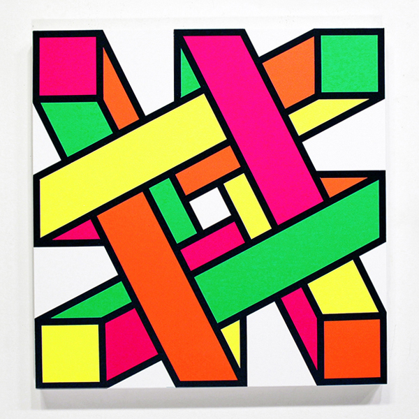Aakash  Nihalani -  <strong>Out-n-In 2</strong> (2012<strong style = 'color:#635a27'></strong>)<bR /> acrylic on canvas,   24 x 24 inches  (60.96 x 60.96 cm)