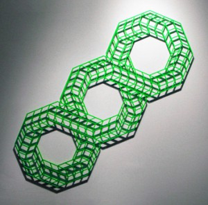 Aakash  Nihalani -  <strong>Overlap III (green)</strong> (2010<strong style = 'color:#635a27'></strong>)<bR /> powder coated aluminum,   24 x 60 x .25 inches  (60.96 x 152.4 x .635 cm)