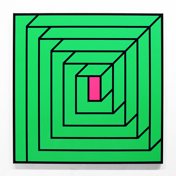 Aakash  Nihalani -  <strong>Portal 1</strong> (2012<strong style = 'color:#635a27'></strong>)<bR /> acrylic on canvas,   36 x 36 x 1.75 inches  (91.44 x 91.44 x 4.45 cm)