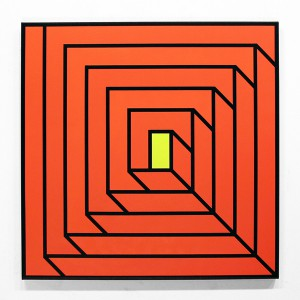 Aakash  Nihalani -  <strong>Portal 2</strong> (2012<strong style = 'color:#635a27'></strong>)<bR /> acrylic on canvas,   36 x 36 x 1.75 inches  (91.44 x 91.44 x 4.45 cm)