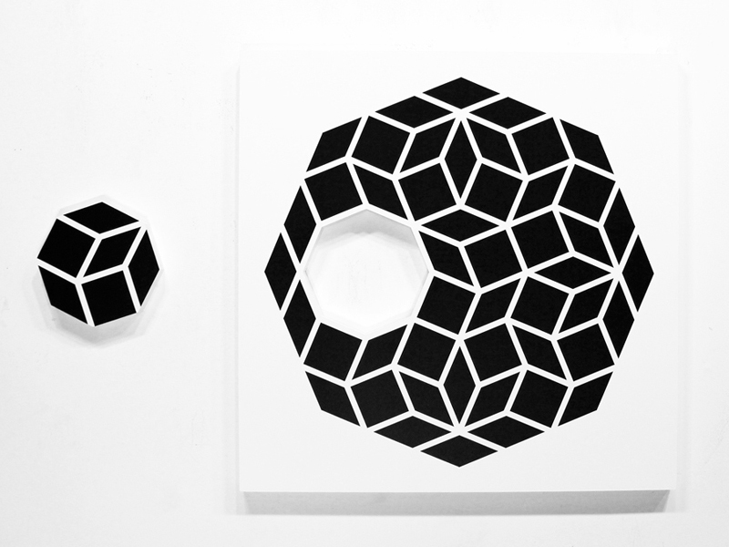 Aakash  Nihalani -  <strong>Whole 1</strong> (2012<strong style = 'color:#635a27'></strong>)<bR /> acrylic on wood,   36 x 36 x 1.75 inches  (91.44 x 91.44 x 4.45 cm)