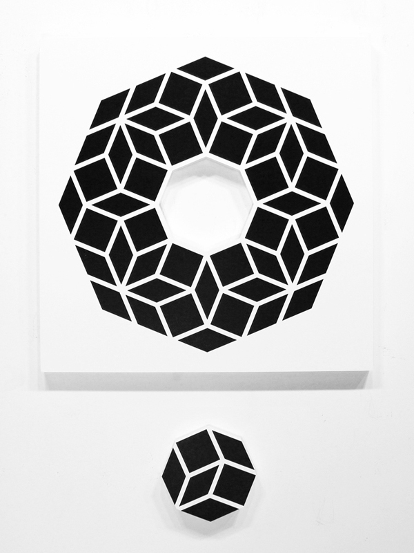 Aakash  Nihalani -  <strong>Whole 2</strong> (2012<strong style = 'color:#635a27'></strong>)<bR /> acrylic on wood,   36 x 36 x 1.75 inches  (91.44 x 91.44 x 4.45 cm)