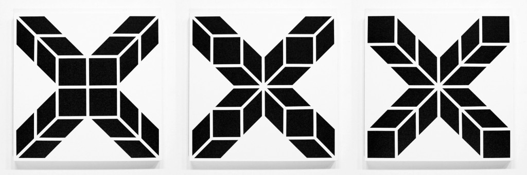 Aakash  Nihalani -  <strong>xxx (triptych)</strong> (2012<strong style = 'color:#635a27'></strong>)<bR /> acrylic on canvas,   24 x 24 inches, each  (60.96 x 60.96 cm)
