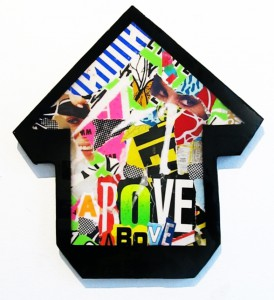 Above -  <strong>Sans Souci (Tu Aimes Ca!)</strong> (2011<strong style = 'color:#635a27'></strong>)<bR /> collage and resin on wood arrow 20 1/2 x 18 3/4 in.