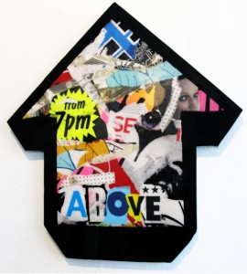 Above -  <strong>We Kissed 5 Girls</strong> (2011<strong style = 'color:#635a27'></strong>)<bR /> collage and resin on wood arrow 20 1/2 x 18 3/4 in.