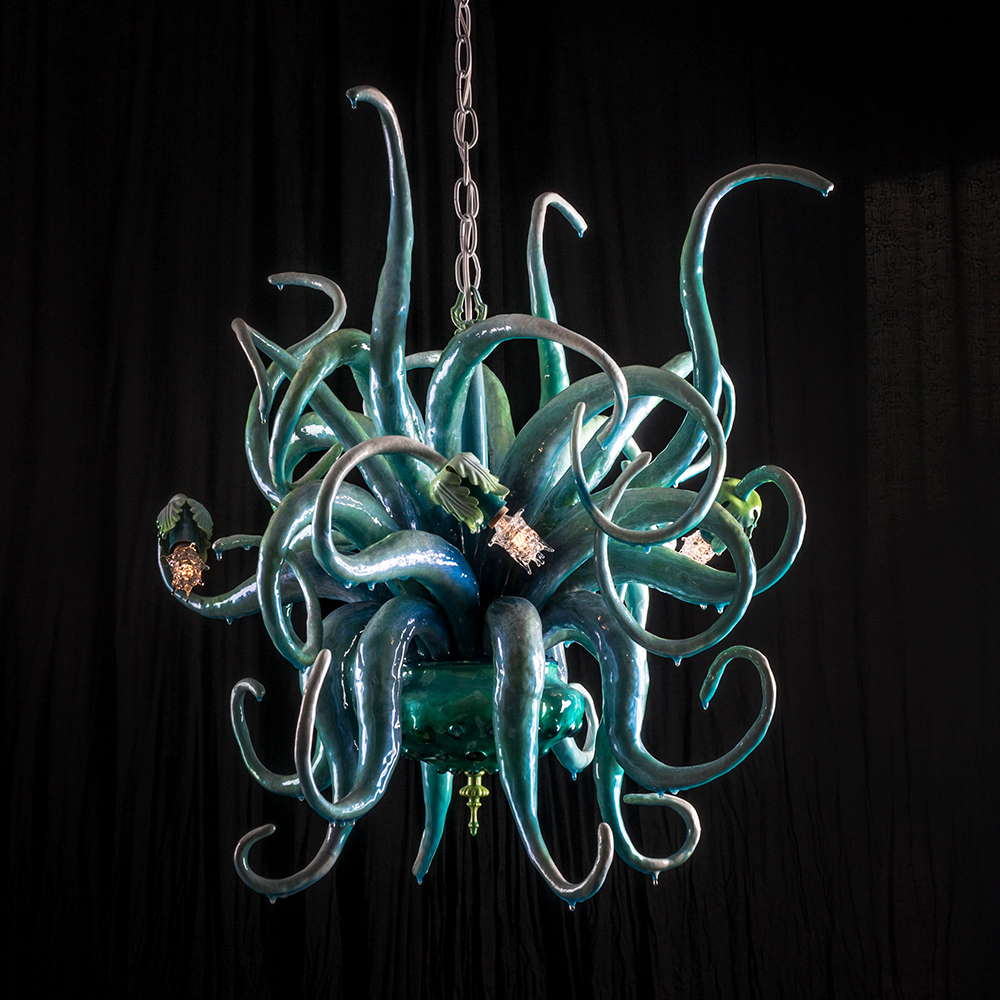 Adam  Wallacavage -  <strong>Anemone Chandelier</strong> (2013<strong style = 'color:#635a27'></strong>)<bR /> wire, lamp parts, glass beads, epoxy resin, eposy clay,   TBD