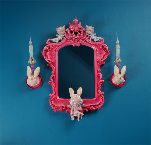 Adam  Wallacavage -  <strong>BUHAHAHA</strong> (2013<strong style = 'color:#635a27'></strong>)<bR /> mirror:  antique reproduction mirror, lamp parts, wires, cast plaster, epoxy resin  39 x 25 x 6 inches  (99.06 x 63.5 x 15.24 cm),   sconce:  cast plaster, spray paint, lamp parts, wires  20 x 6 x 6 inches  (50.8 x 15.24 x 15.24 cm)