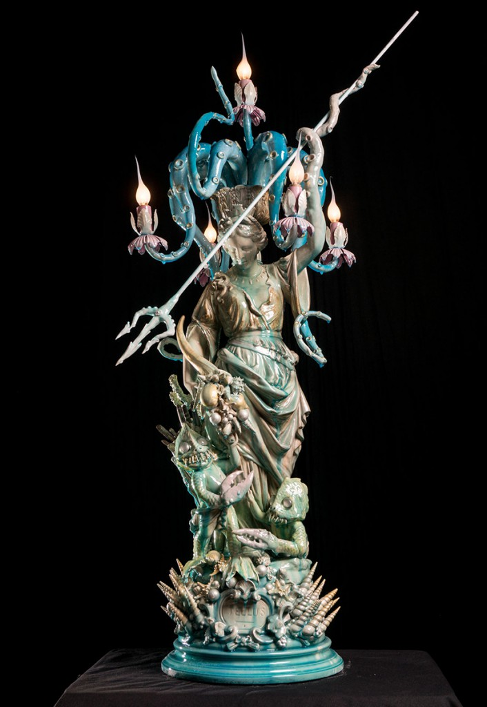 Adam  Wallacavage -  <strong>Deatellus</strong> (2013<strong style = 'color:#635a27'></strong>)<bR /> vintage cast plaster statue, lamp parts, epoxy clay, epoxy resin, glass beads, spray paint,   51 x 18 x 18 inches  (129.54 x 45.72 x 45.72 cm)