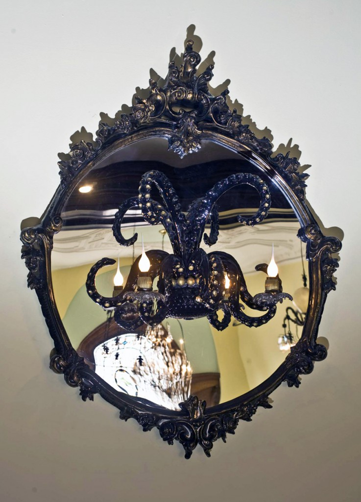 Adam  Wallacavage -  <strong>Des Imagistes</strong> (2008<strong style = 'color:#635a27'></strong>)<bR /> Epoxy resin coated cast plaster with lamp parts on mirror,   41.5 x 33 x 12 inches  (105.41 x 83.82 x 30.48 cm)