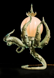Adam  Wallacavage -  <strong>Glo Octopus Lamp</strong> (2013<strong style = 'color:#635a27'></strong>)<bR /> lamp parts, vintage glass, epoxy resin, epoxy clay, phosphorescent powder,   18.5 x 15 inches  (46.99 x 38.10 cm)