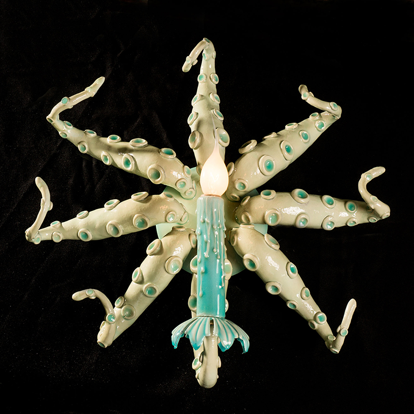 Adam  Wallacavage -  <strong>Glo Octopus Sconce Pair</strong> (2013<strong style = 'color:#635a27'></strong>)<bR /> lamp parts, epoxy resin, epoxy clay, phosphorescent powder,   15.5 x 16 inches  (39.37 x 40.64 cm)